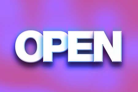 """Het woord """"Open"""" geschreven in witte 3D-letters op een kleurrijke achtergrond concept en thema. Stockfoto"""