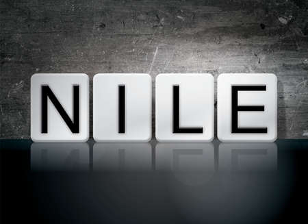 white nile: The word Nile written in white tiles against a dark vintage grunge background. Stock Photo
