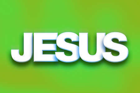 The word Jesus written in white 3D letters on a colorful background concept and theme.