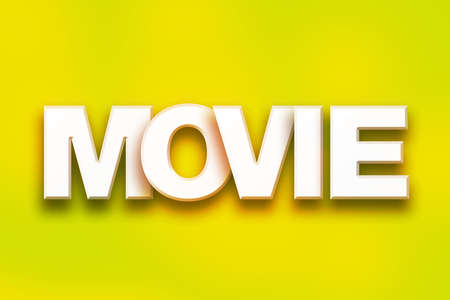 The word Movie written in white 3D letters on a colorful background concept and theme. Stock Photo