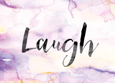 """Het woord """"Lach"""" geschilderd in zwarte inkt over een kleurrijke aquarel wassen achtergrond, concept en thema."""