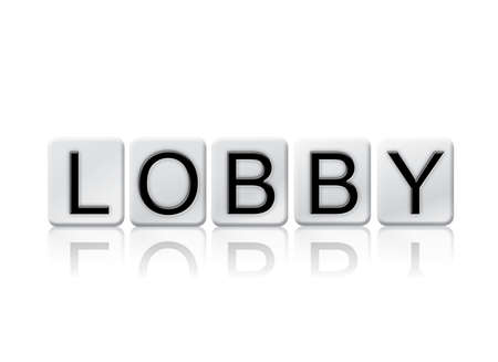 The word Lobby written in tile letters isolated on a white background. Stock Photo