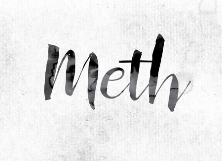 meth: The word Meth concept and theme painted in watercolor ink on a white paper.