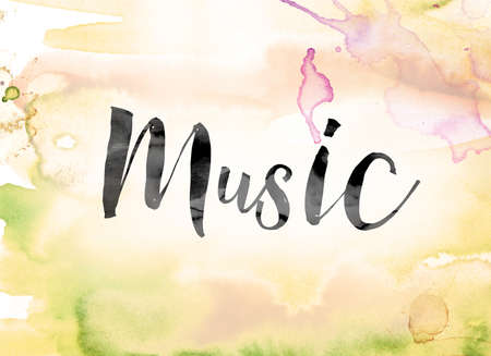 chorale: The word Music painted in black ink over a colorful watercolor washed background concept and theme.