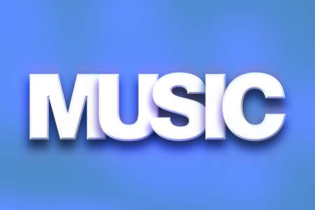 chorale: The word Music written in white 3D letters on a colorful background concept and theme.
