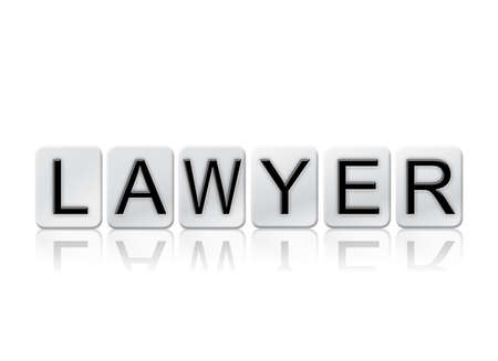 letterpress blocks: The word Lawyer written in tile letters isolated on a white background. Stock Photo