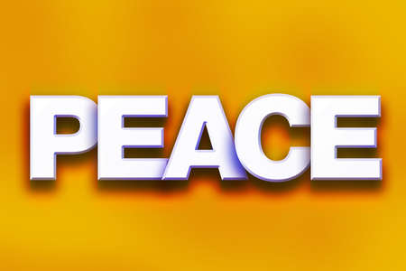 The word Peace written in white 3D letters on a colorful background concept and theme.