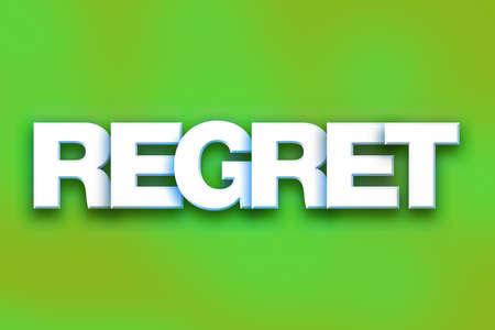 「後悔」概念のカラフルな背景とテーマに白い 3 D 文字で書かれた単語。 写真素材