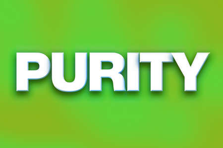The word Purity written in white 3D letters on a colorful background concept and theme.