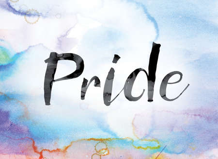 boastful: The word Pride painted in black ink over a colorful watercolor washed background concept and theme. Stock Photo