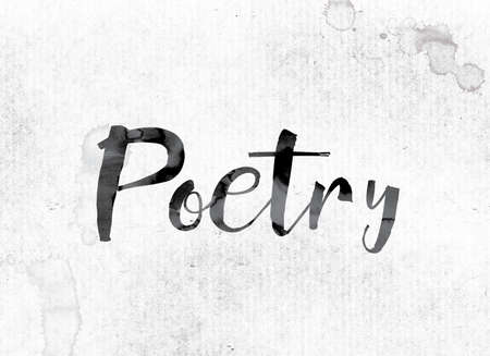 poems: The word Poetry concept and theme painted in watercolor ink on a white paper. Stock Photo