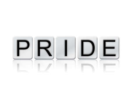The word Pride written in tile letters isolated on a white background. Stock Photo