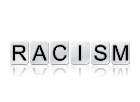 segregate: The word Racism written in tile letters isolated on a white background. Stock Photo