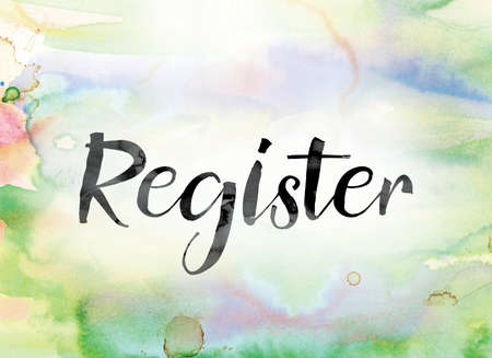 chronicle: The word Register painted in black ink over a colorful watercolor washed background concept and theme. Stock Photo