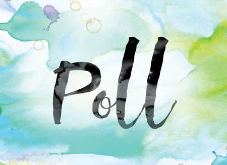 The word Poll painted in black ink over a colorful watercolor washed background concept and theme.
