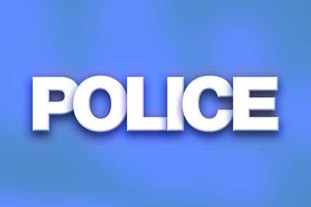 「警察」カラフルな背景の概念とテーマに白い 3 D 文字で書かれた単語。 写真素材