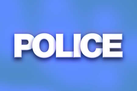 The word Police written in white 3D letters on a colorful background concept and theme.