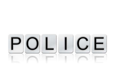 letterpress blocks: The word Police written in tile letters isolated on a white background.