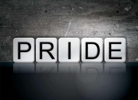 The word Pride written in white tiles against a dark vintage grunge background.