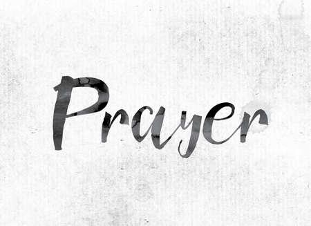 """El concepto y el tema de la """"oración"""" de la palabra pintaron en tinta de la acuarela en un Libro Blanco."""