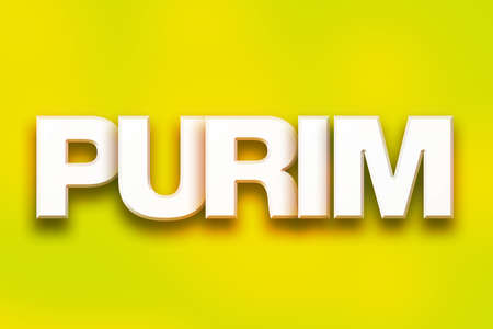 hebrew letters: The word Purim written in white 3D letters on a colorful background concept and theme.
