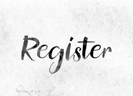 roster: The word Register concept and theme painted in watercolor ink on a white paper. Stock Photo