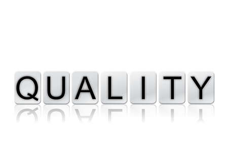 trait: The word Quality written in tile letters isolated on a white background.