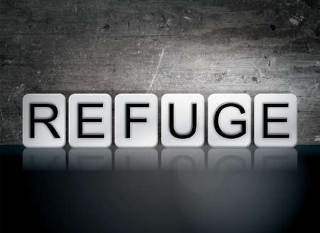 hideout: The word Refuge written in white tiles against a dark vintage grunge background.
