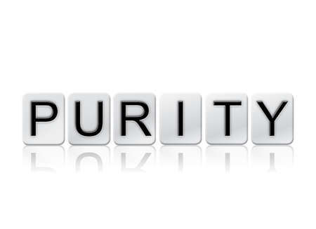 letterpress blocks: The word Purity written in tile letters isolated on a white background.