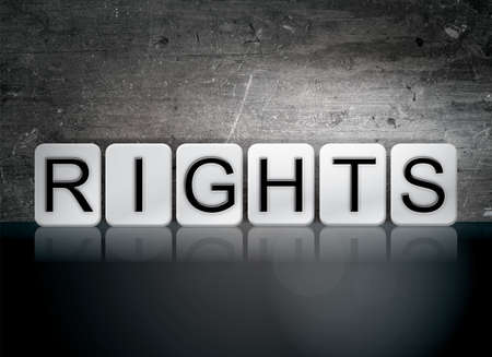 bill of rights: The word Rights written in white tiles against a dark vintage grunge background. Stock Photo