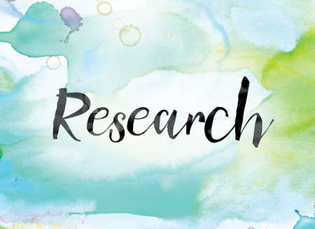 The word Research painted in black ink over a colorful watercolor washed background concept and theme.