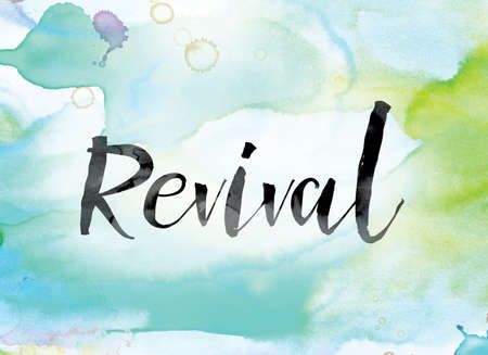 The word Revival painted in black ink over a colorful watercolor washed background concept and theme.