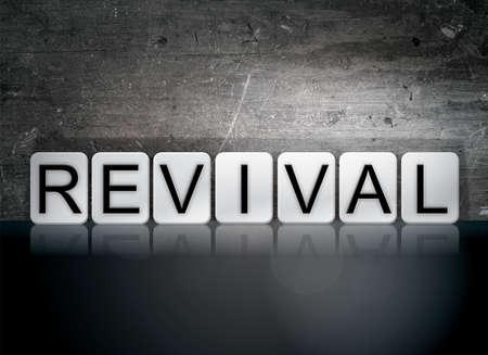 "The word ""Revival"" written in white tiles against a dark vintage grunge background. Stock fotó"