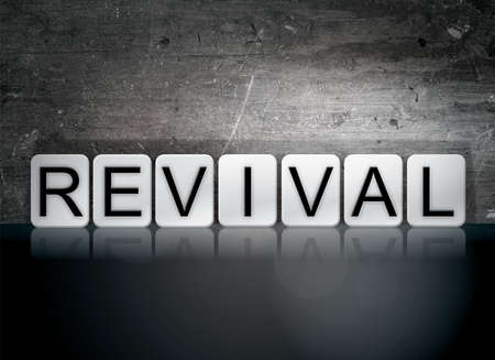 resuscitate: The word Revival written in white tiles against a dark vintage grunge background.