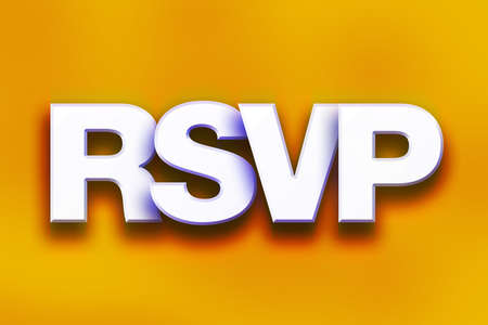 The word RSVP written in white 3D letters on a colorful background concept and theme.