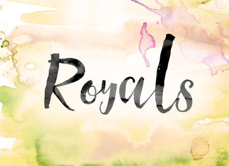 """The word """"Royals"""" painted in black ink over a colorful watercolor washed background concept and theme."""