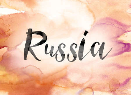 The word Russia painted in black ink over a colorful watercolor washed background concept and theme. Stock fotó