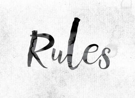 """edicto: La palabra """"Reglas"""" concepto y el tema pintado en tinta acuarela en un papel blanco."""