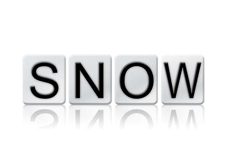 letterpress blocks: The word Snow written in tile letters isolated on a white background. Stock Photo