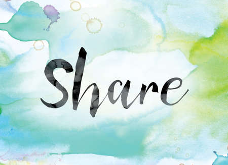 The word Share painted in black ink over a colorful watercolor washed background concept and theme. Stock Photo