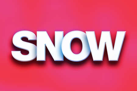 flurry: The word Snow written in white 3D letters on a colorful background concept and theme. Stock Photo