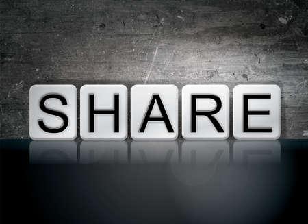 The word Share written in white tiles against a dark vintage grunge background.