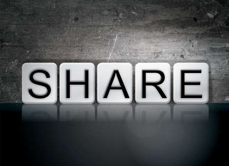shared sharing: The word Share written in white tiles against a dark vintage grunge background.