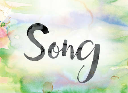 chorale: The word Song painted in black ink over a colorful watercolor washed background concept and theme.