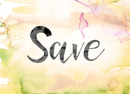 The word Save painted in black ink over a colorful watercolor washed background concept and theme. Stock Photo