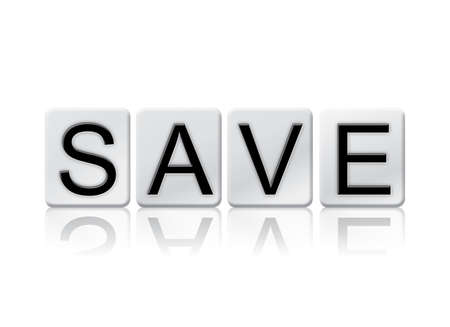 The word Save written in tile letters isolated on a white background. Stock Photo