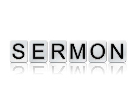 The word Sermon written in tile letters isolated on a white background.