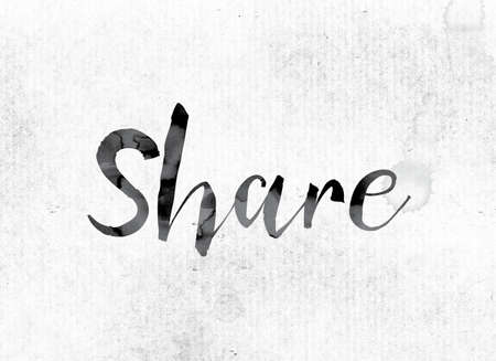 The word Share concept and theme painted in watercolor ink on a white paper. Stock Photo