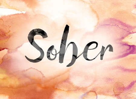 The word Sober painted in black ink over a colorful watercolor washed background concept and theme. Stock Photo