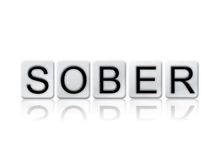 The word Sober written in tile letters isolated on a white background. Stock Photo
